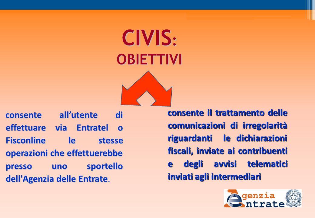 consente allutente di effettuare via Entratel o Fisconline le stesse operazioni che effettuerebbe presso uno sportello dell'Agenzia delle Entrate. CIV