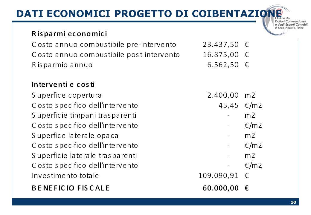 10 DATI ECONOMICI PROGETTO DI COIBENTAZIONE