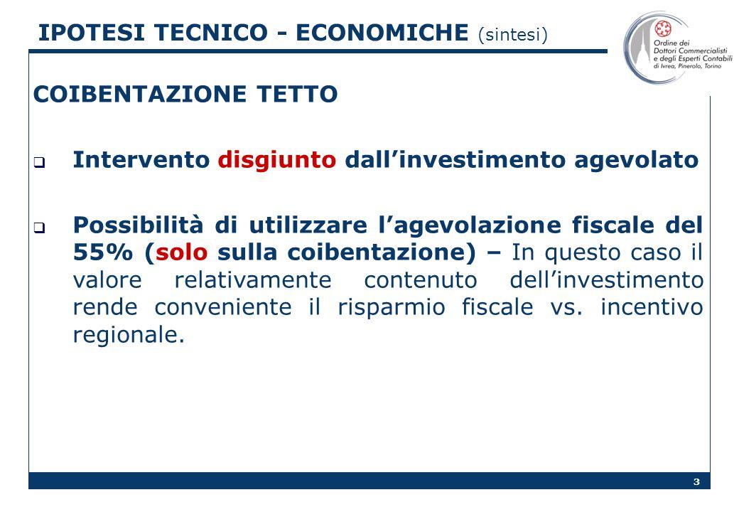 3 COIBENTAZIONE TETTO Intervento disgiunto dallinvestimento agevolato Possibilità di utilizzare lagevolazione fiscale del 55% (solo sulla coibentazione) – In questo caso il valore relativamente contenuto dellinvestimento rende conveniente il risparmio fiscale vs.