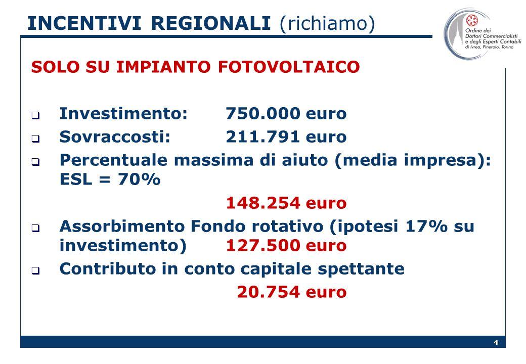 4 INCENTIVI REGIONALI (richiamo) SOLO SU IMPIANTO FOTOVOLTAICO Investimento:750.000 euro Sovraccosti: 211.791 euro Percentuale massima di aiuto (media impresa): ESL = 70% 148.254 euro Assorbimento Fondo rotativo (ipotesi 17% su investimento)127.500 euro Contributo in conto capitale spettante 20.754 euro