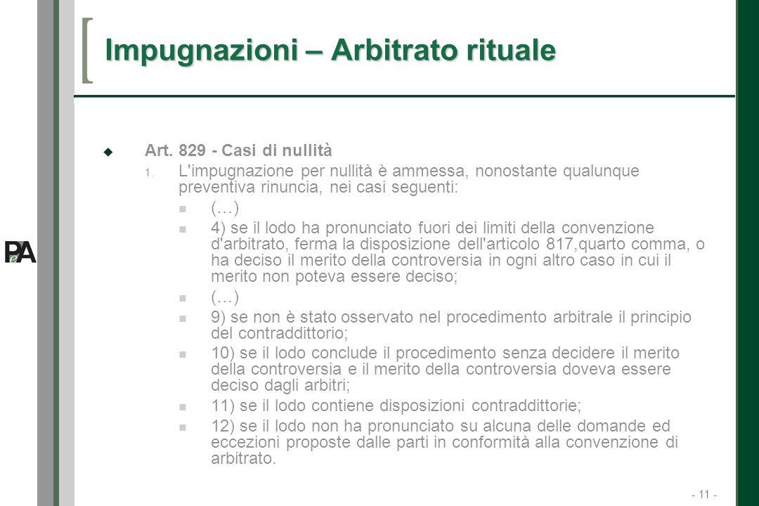 - 11 - 11 Impugnazioni – Arbitrato rituale Art.829 - Casi di nullità 1.