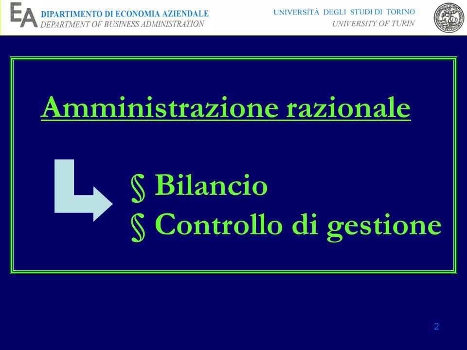 2 Amministrazione razionale § Bilancio § Controllo di gestione