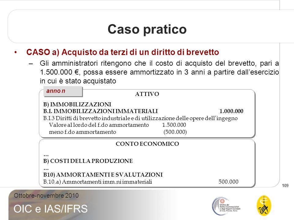 109 Ottobre-novembre 2010 OIC e IAS/IFRS Caso pratico CASO a) Acquisto da terzi di un diritto di brevetto –Gli amministratori ritengono che il costo d