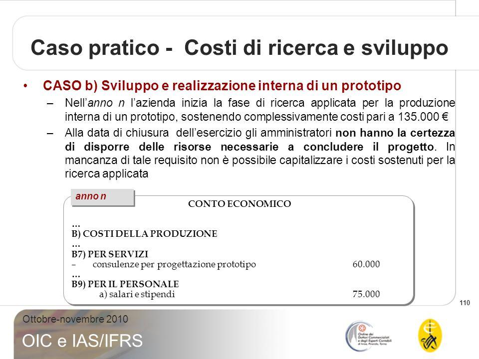 110 Ottobre-novembre 2010 OIC e IAS/IFRS Caso pratico - Costi di ricerca e sviluppo CASO b) Sviluppo e realizzazione interna di un prototipo –Nellanno