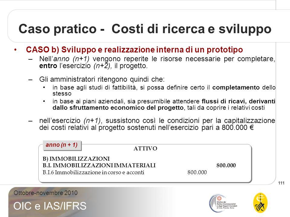111 Ottobre-novembre 2010 OIC e IAS/IFRS Caso pratico - Costi di ricerca e sviluppo CASO b) Sviluppo e realizzazione interna di un prototipo –Nellanno