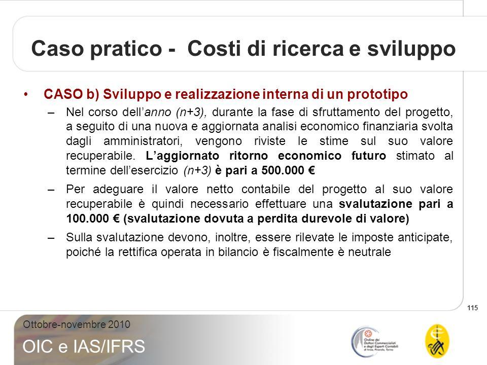 115 Ottobre-novembre 2010 OIC e IAS/IFRS Caso pratico - Costi di ricerca e sviluppo CASO b) Sviluppo e realizzazione interna di un prototipo –Nel cors