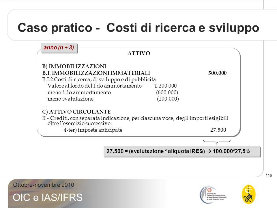 116 Ottobre-novembre 2010 OIC e IAS/IFRS ATTIVO B) IMMOBILIZZAZIONI B.I. IMMOBILIZZAZIONI IMMATERIALI 500.000 B.I.2 Costi di ricerca, di sviluppo e di