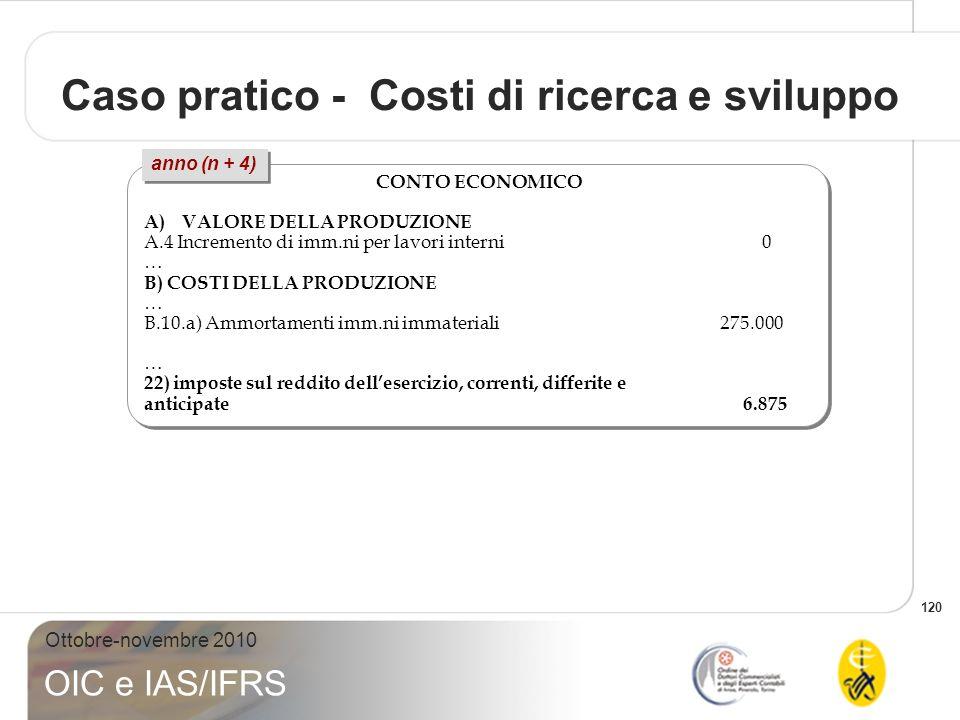 120 Ottobre-novembre 2010 OIC e IAS/IFRS CONTO ECONOMICO A)VALORE DELLA PRODUZIONE A.4 Incremento di imm.ni per lavori interni 0 … B) COSTI DELLA PROD