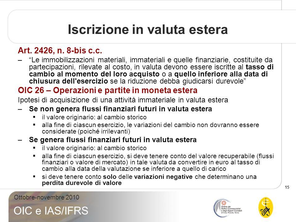 15 Ottobre-novembre 2010 OIC e IAS/IFRS Iscrizione in valuta estera Art. 2426, n. 8-bis c.c. –Le immobilizzazioni materiali, immateriali e quelle fina