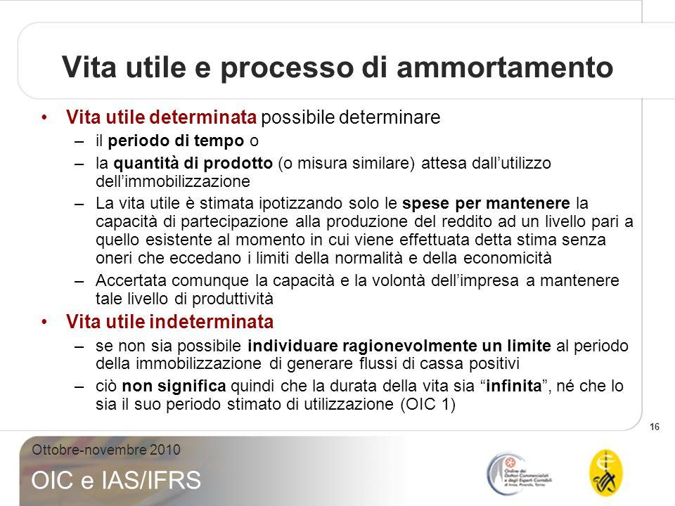 16 Ottobre-novembre 2010 OIC e IAS/IFRS Vita utile e processo di ammortamento Vita utile determinata possibile determinare –il periodo di tempo o –la