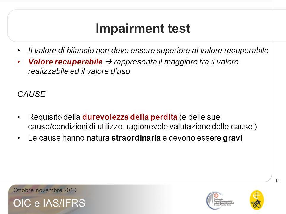 18 Ottobre-novembre 2010 OIC e IAS/IFRS Impairment test Il valore di bilancio non deve essere superiore al valore recuperabile Valore recuperabile rap