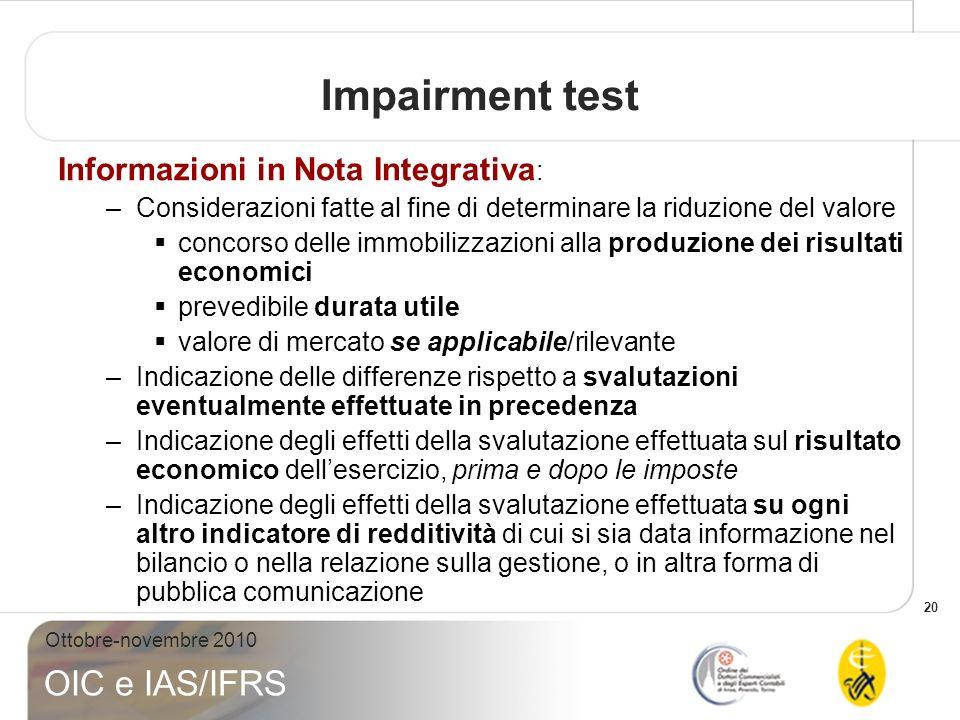 20 Ottobre-novembre 2010 OIC e IAS/IFRS Impairment test Informazioni in Nota Integrativa : –Considerazioni fatte al fine di determinare la riduzione d