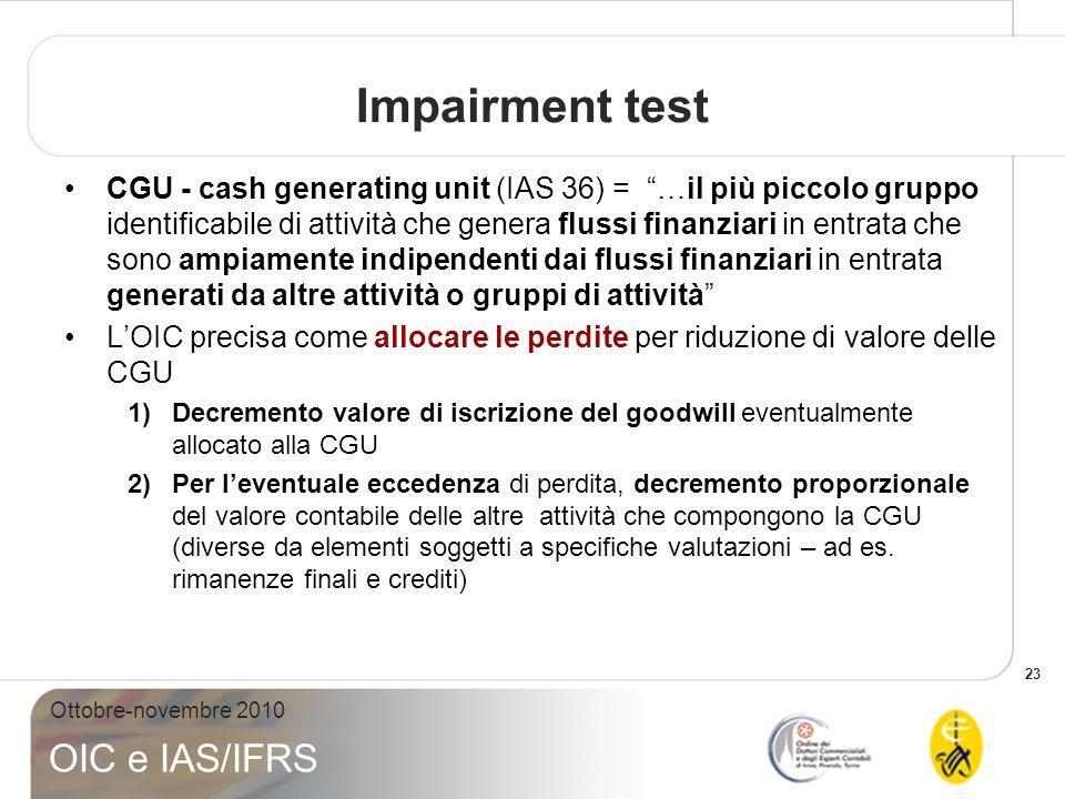 23 Ottobre-novembre 2010 OIC e IAS/IFRS Impairment test CGU - cash generating unit (IAS 36) = …il più piccolo gruppo identificabile di attività che ge