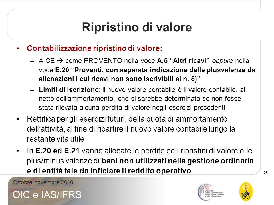 25 Ottobre-novembre 2010 OIC e IAS/IFRS Ripristino di valore Contabilizzazione ripristino di valore: –A CE come PROVENTO nella voce A.5 Altri ricavi o