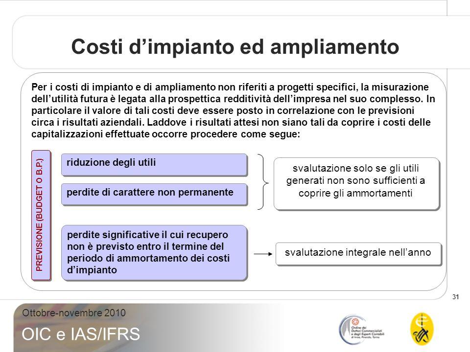 31 Ottobre-novembre 2010 OIC e IAS/IFRS Costi dimpianto ed ampliamento Per i costi di impianto e di ampliamento non riferiti a progetti specifici, la