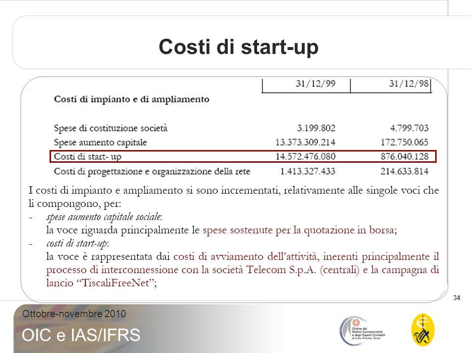 34 Ottobre-novembre 2010 OIC e IAS/IFRS Costi di start-up