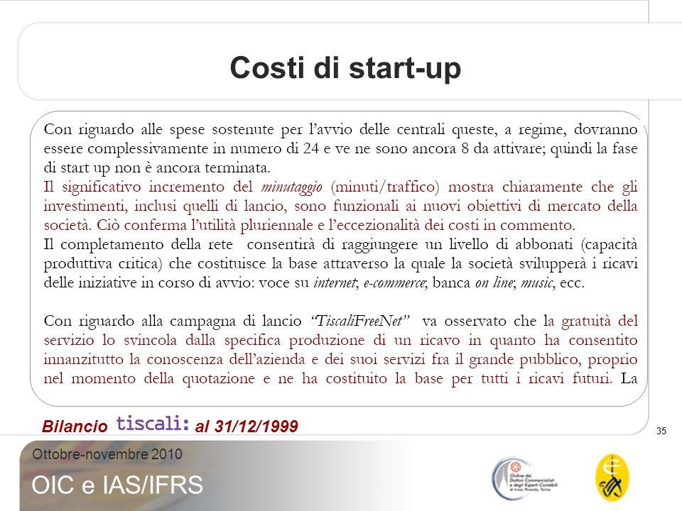 35 Ottobre-novembre 2010 OIC e IAS/IFRS Costi di start-up Bilancio al 31/12/1999