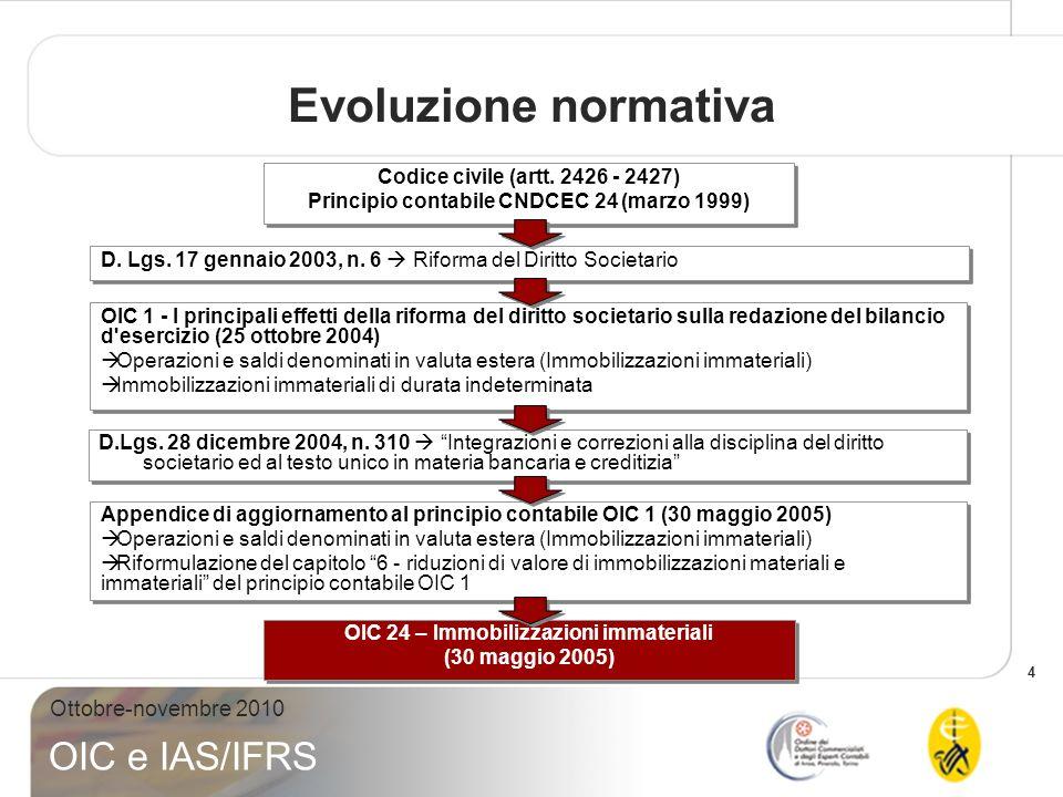 4 Ottobre-novembre 2010 OIC e IAS/IFRS Evoluzione normativa D. Lgs. 17 gennaio 2003, n. 6 Riforma del Diritto Societario Codice civile (artt. 2426 - 2