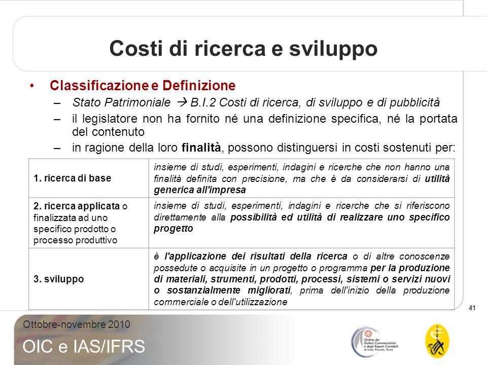 41 Ottobre-novembre 2010 OIC e IAS/IFRS Classificazione e Definizione –Stato Patrimoniale B.I.2 Costi di ricerca, di sviluppo e di pubblicità –il legi