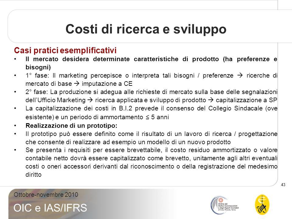 43 Ottobre-novembre 2010 OIC e IAS/IFRS Costi di ricerca e sviluppo Casi pratici esemplificativi Il mercato desidera determinate caratteristiche di pr