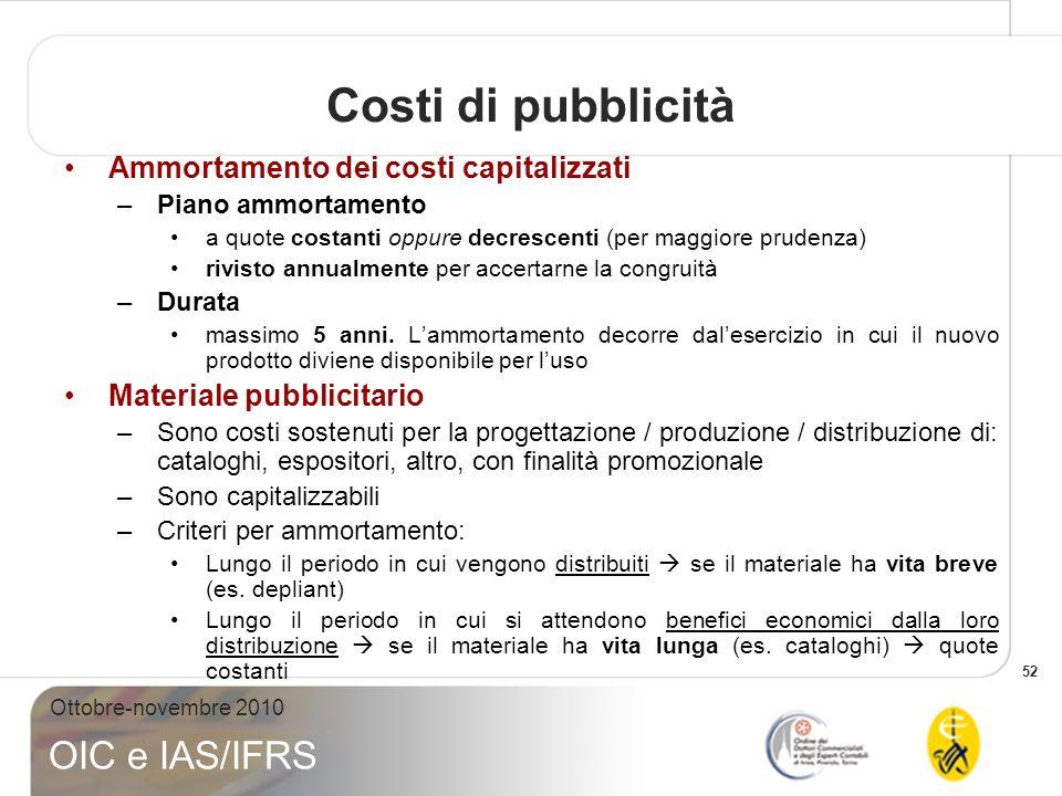 52 Ottobre-novembre 2010 OIC e IAS/IFRS Ammortamento dei costi capitalizzati –Piano ammortamento a quote costanti oppure decrescenti (per maggiore pru