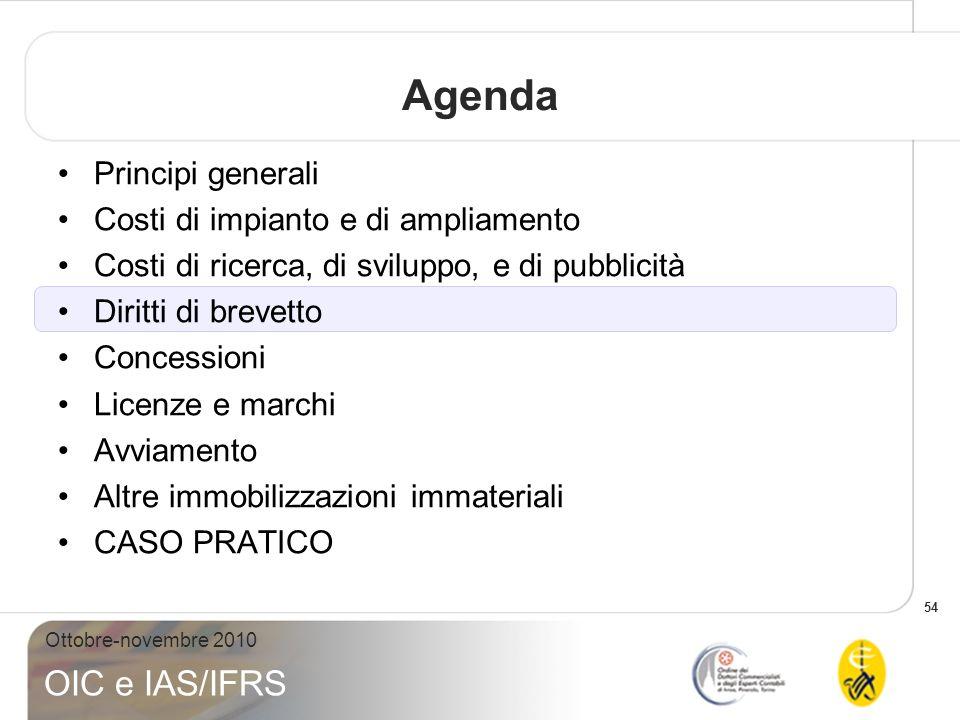 54 Ottobre-novembre 2010 OIC e IAS/IFRS Agenda Principi generali Costi di impianto e di ampliamento Costi di ricerca, di sviluppo, e di pubblicità Dir
