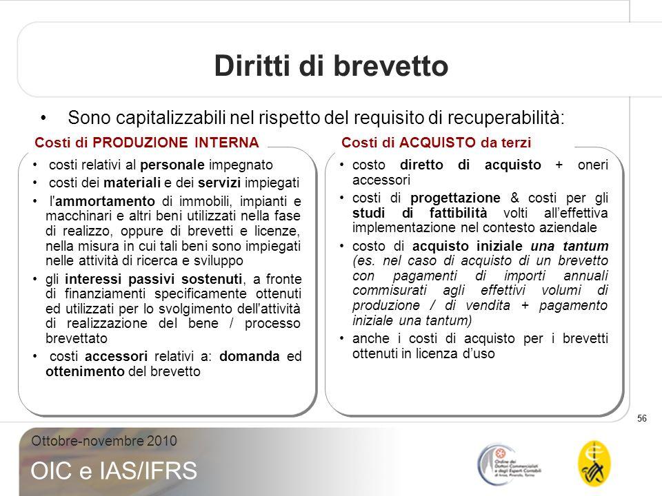 56 Ottobre-novembre 2010 OIC e IAS/IFRS Diritti di brevetto Sono capitalizzabili nel rispetto del requisito di recuperabilità: costi relativi al perso