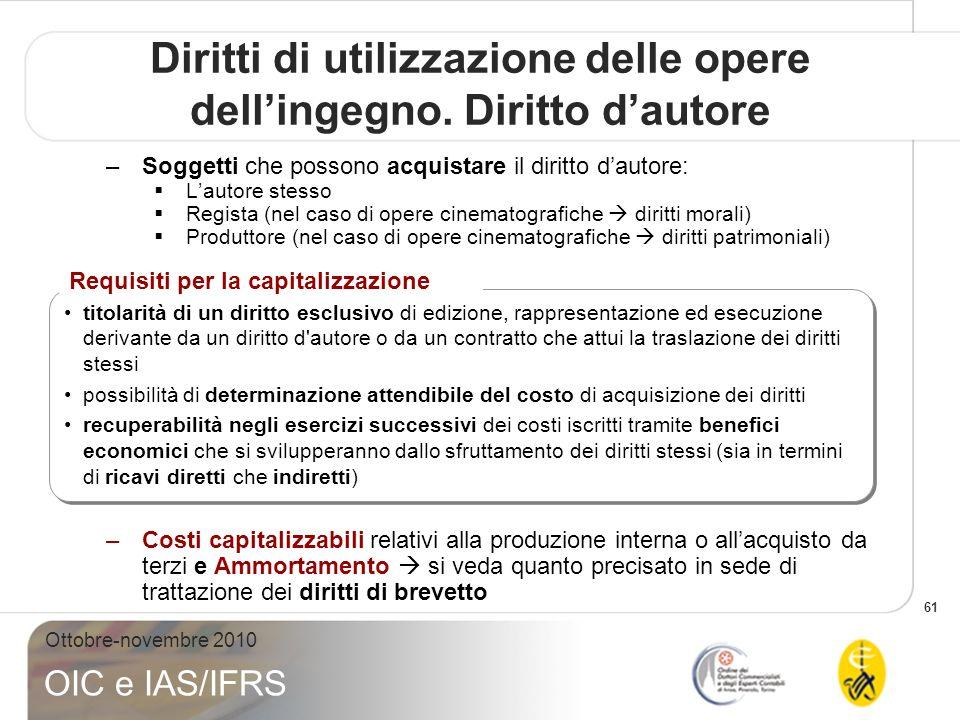 61 Ottobre-novembre 2010 OIC e IAS/IFRS –Soggetti che possono acquistare il diritto dautore: Lautore stesso Regista (nel caso di opere cinematografich
