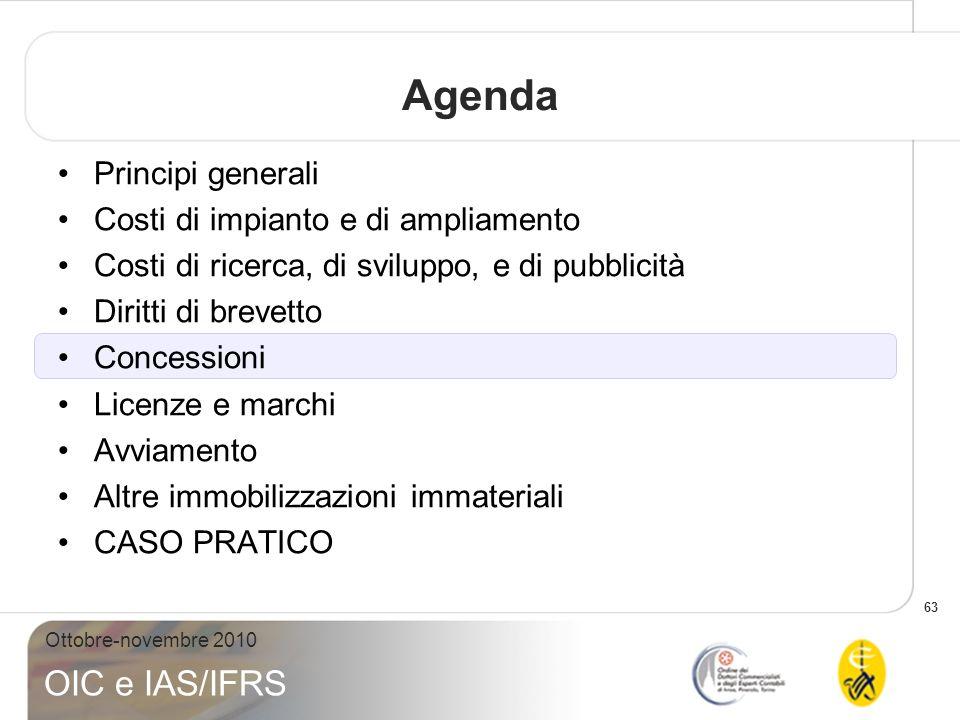 63 Ottobre-novembre 2010 OIC e IAS/IFRS Agenda Principi generali Costi di impianto e di ampliamento Costi di ricerca, di sviluppo, e di pubblicità Dir