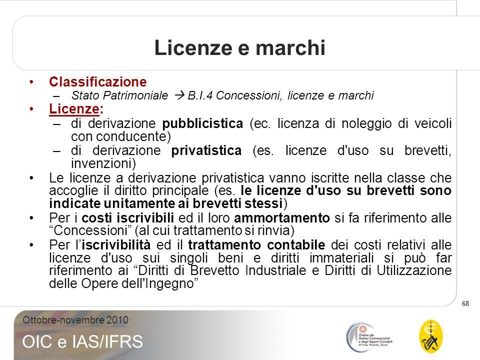 68 Ottobre-novembre 2010 OIC e IAS/IFRS Classificazione –Stato Patrimoniale B.I.4 Concessioni, licenze e marchi Licenze: –di derivazione pubblicistica