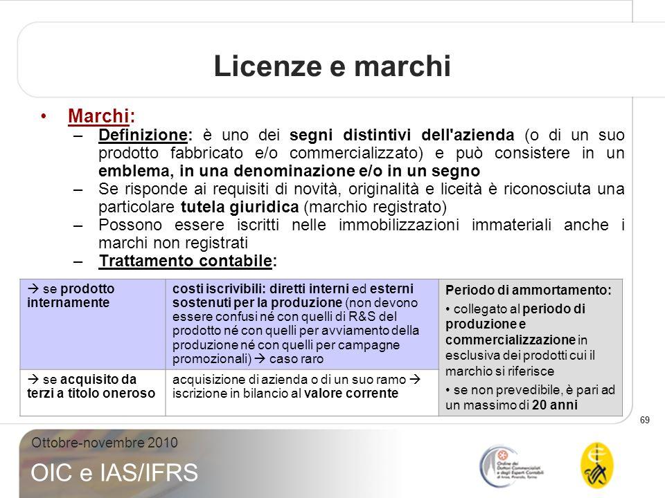 69 Ottobre-novembre 2010 OIC e IAS/IFRS Marchi: –Definizione: è uno dei segni distintivi dell'azienda (o di un suo prodotto fabbricato e/o commerciali