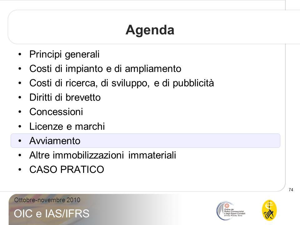 74 Ottobre-novembre 2010 OIC e IAS/IFRS Agenda Principi generali Costi di impianto e di ampliamento Costi di ricerca, di sviluppo, e di pubblicità Dir