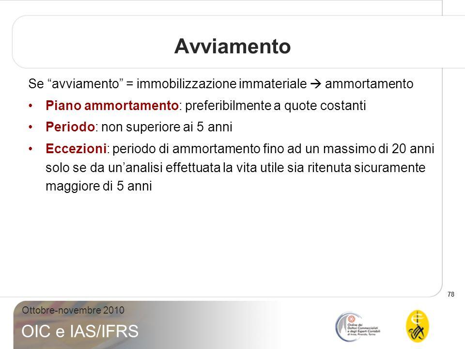 78 Ottobre-novembre 2010 OIC e IAS/IFRS Avviamento Se avviamento = immobilizzazione immateriale ammortamento Piano ammortamento: preferibilmente a quo