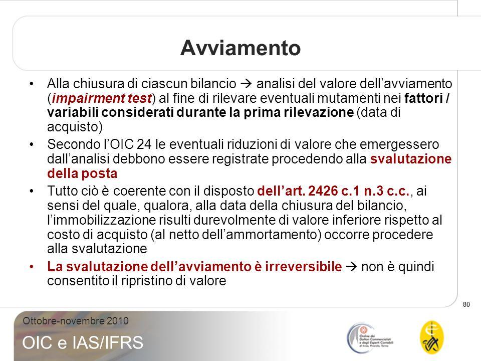 80 Ottobre-novembre 2010 OIC e IAS/IFRS Avviamento Alla chiusura di ciascun bilancio analisi del valore dellavviamento (impairment test) al fine di ri