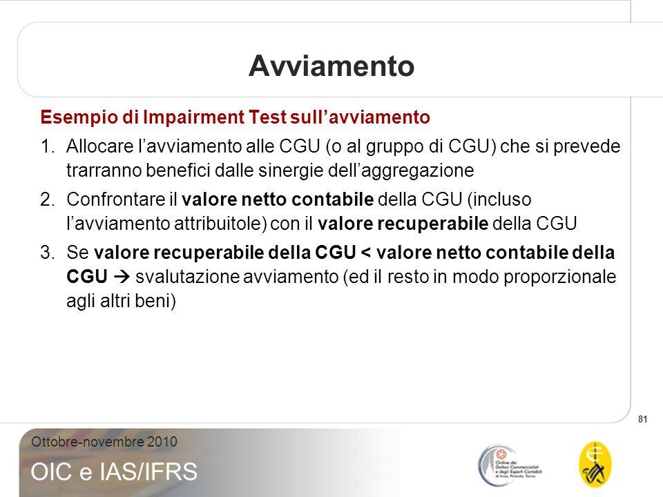 81 Ottobre-novembre 2010 OIC e IAS/IFRS Avviamento Esempio di Impairment Test sullavviamento 1.Allocare lavviamento alle CGU (o al gruppo di CGU) che
