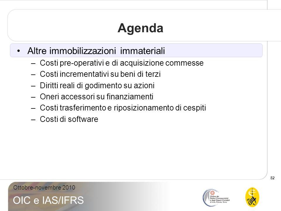 82 Ottobre-novembre 2010 OIC e IAS/IFRS Agenda Altre immobilizzazioni immateriali –Costi pre-operativi e di acquisizione commesse –Costi incrementativ