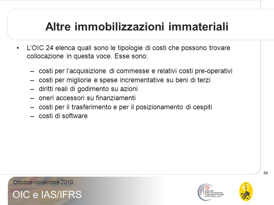 84 Ottobre-novembre 2010 OIC e IAS/IFRS Altre immobilizzazioni immateriali LOIC 24 elenca quali sono le tipologie di costi che possono trovare colloca