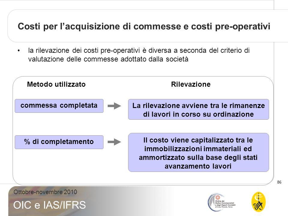 86 Ottobre-novembre 2010 OIC e IAS/IFRS Costi per lacquisizione di commesse e costi pre-operativi la rilevazione dei costi pre-operativi è diversa a s