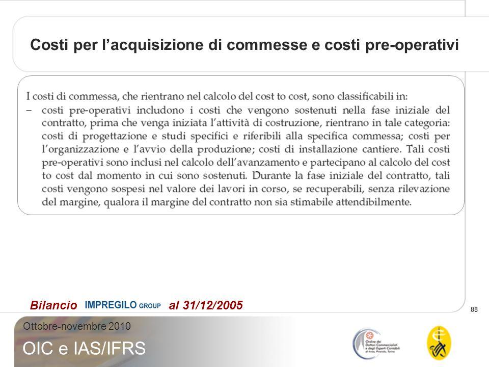 88 Ottobre-novembre 2010 OIC e IAS/IFRS Costi per lacquisizione di commesse e costi pre-operativi Bilancio al 31/12/2005