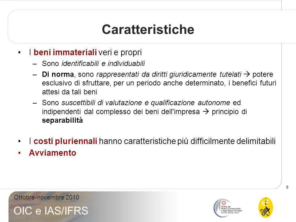 9 Ottobre-novembre 2010 OIC e IAS/IFRS Caratteristiche I beni immateriali veri e propri –Sono identificabili e individuabili –Di norma, sono rappresen