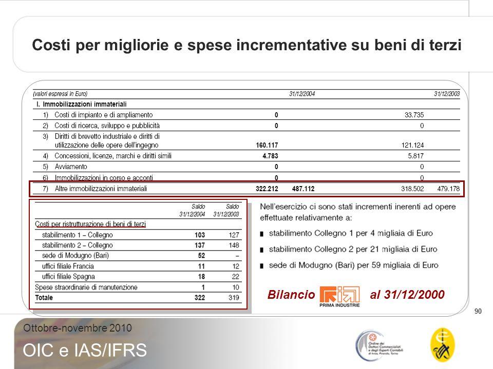 90 Ottobre-novembre 2010 OIC e IAS/IFRS Bilancio al 31/12/2000 Costi per migliorie e spese incrementative su beni di terzi