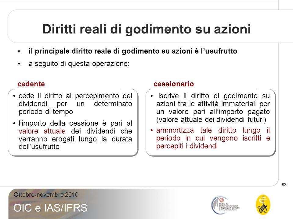 92 Ottobre-novembre 2010 OIC e IAS/IFRS Diritti reali di godimento su azioni il principale diritto reale di godimento su azioni è lusufrutto a seguito