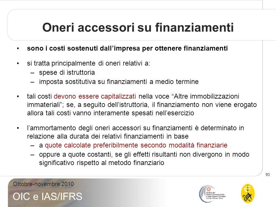 93 Ottobre-novembre 2010 OIC e IAS/IFRS Oneri accessori su finanziamenti sono i costi sostenuti dallimpresa per ottenere finanziamenti si tratta princ