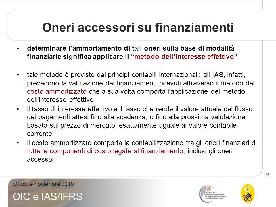 95 Ottobre-novembre 2010 OIC e IAS/IFRS Oneri accessori su finanziamenti determinare lammortamento di tali oneri sulla base di modalità finanziarie si