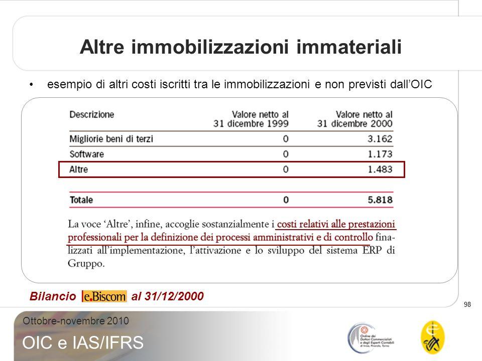 98 Ottobre-novembre 2010 OIC e IAS/IFRS Altre immobilizzazioni immateriali Bilancio al 31/12/2000 esempio di altri costi iscritti tra le immobilizzazi