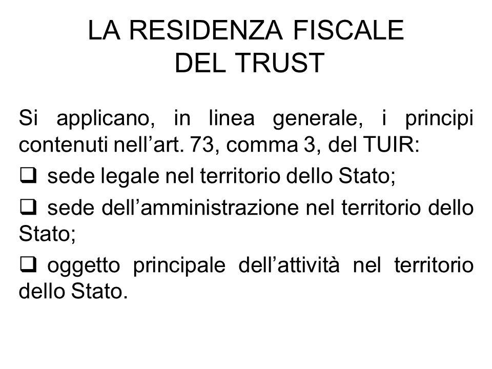 LA RESIDENZA FISCALE DEL TRUST Si applicano, in linea generale, i principi contenuti nellart. 73, comma 3, del TUIR: sede legale nel territorio dello
