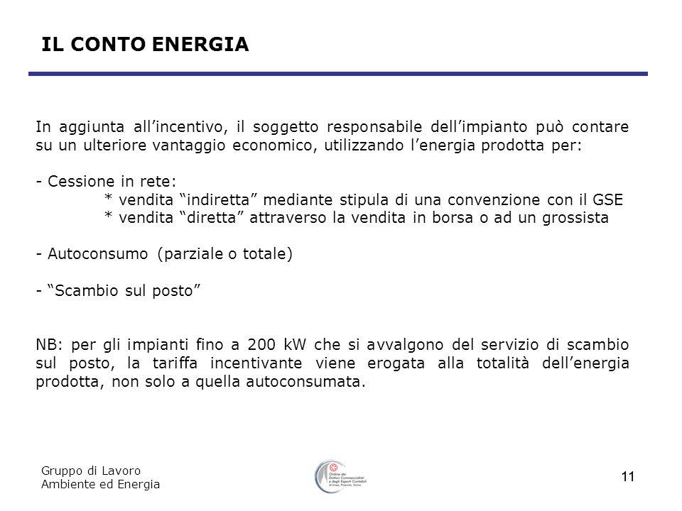 Gruppo di Lavoro Ambiente ed Energia 11 In aggiunta allincentivo, il soggetto responsabile dellimpianto può contare su un ulteriore vantaggio economic