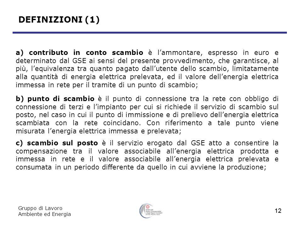Gruppo di Lavoro Ambiente ed Energia 12 DEFINIZIONI (1) a) contributo in conto scambio è lammontare, espresso in euro e determinato dal GSE ai sensi d