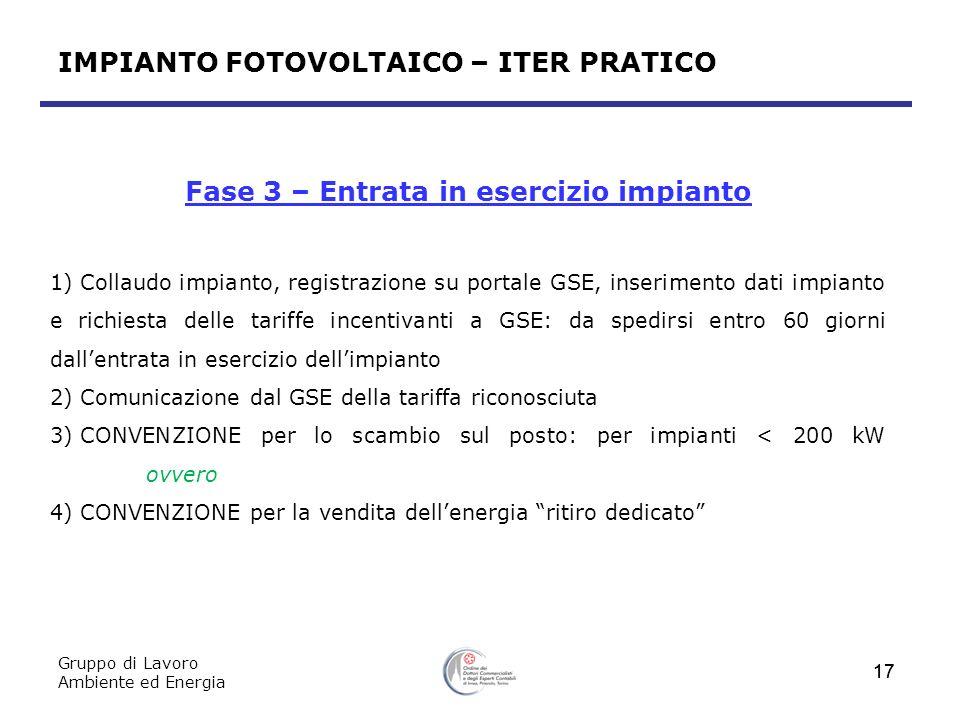 Gruppo di Lavoro Ambiente ed Energia 17 Fase 3 – Entrata in esercizio impianto 1) Collaudo impianto, registrazione su portale GSE, inserimento dati im