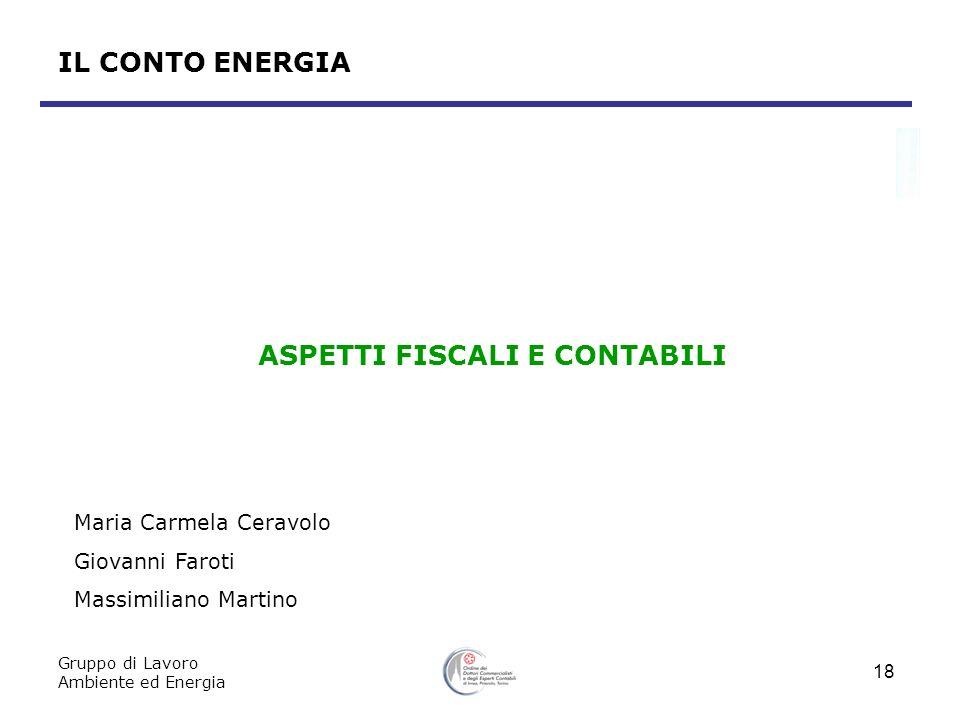 Gruppo di Lavoro Ambiente ed Energia 18 IL CONTO ENERGIA ASPETTI FISCALI E CONTABILI Maria Carmela Ceravolo Giovanni Faroti Massimiliano Martino